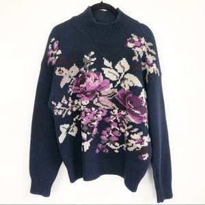 Vintage Floral Wool Embroidered Pullover S…